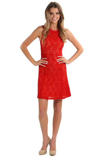 Starfish Lace Dress - Red