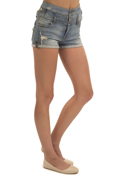 High Waist Multi Button Jean Short - Light Wash by Eunina Jeans