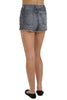 Croc High Waist Denim Shorts - Dark Acid Wash By Eunina Jeans