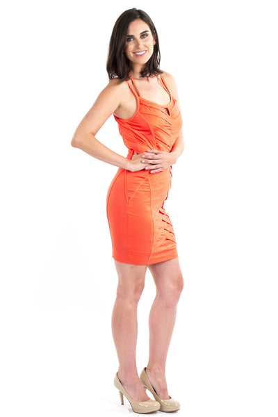Crossover Body Con Dress - Coral