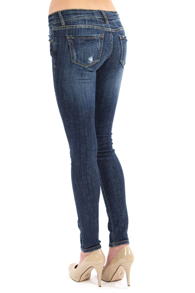 Low Rise Heavy Tooling Skinny Jean - Dark Wash By Eunina Jeans