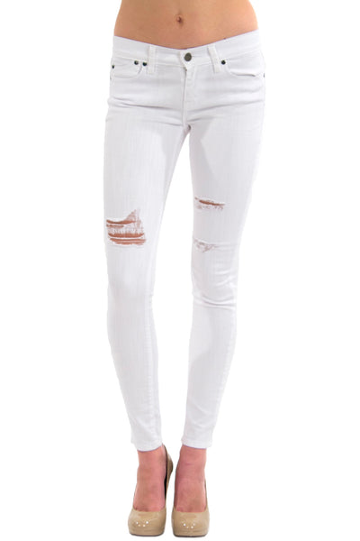 Mid Rise Destructed Skinny Jean - White Audrey by Pistola Denim