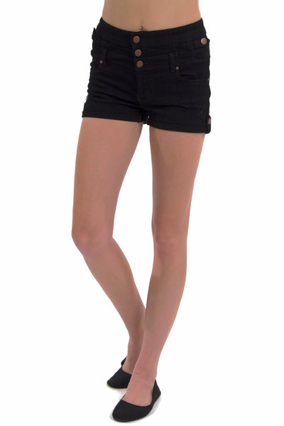 High Waist Multi Button Short - Solid Black by Eunina Jeans
