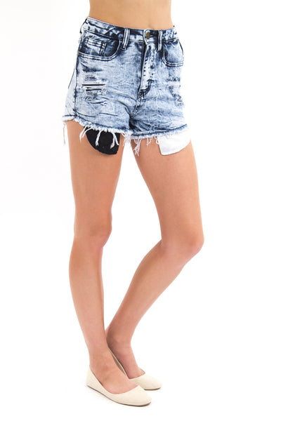 Acid Wash Distressed High Waist Shorts W/ Black & White Pockets By Machine Jeans