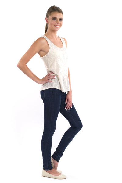 Gerbera Crocehet Detail Tank - Cream
