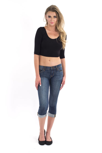 3/4 Sleeve Scoop Neck Crop Top - Black