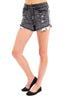 Optical Acid Wash Black High Rise Shorts By Eunina Jeans