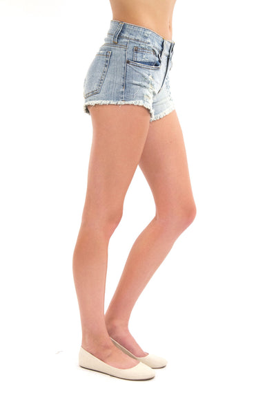 Mid Rise Destroyed Cutoff Short - Light Wash by Eunina Jeans