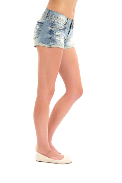 Short Shorts Released Cuff - Light Wash By Eunina Jeans