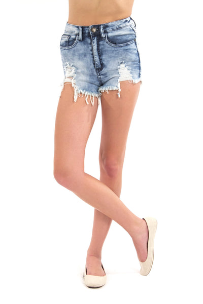 High Waist Destroyed Potassium Acid Wash Shorts by Machine Jeans