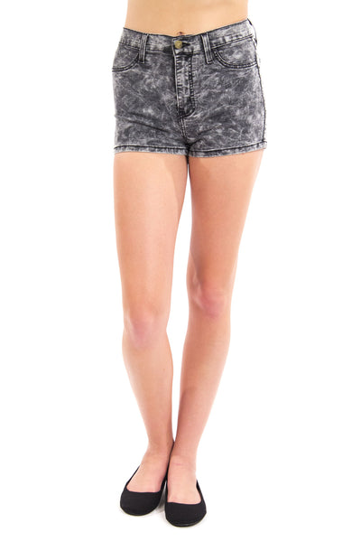 Miley High Waist Acid Wash Shorts - Black by Eunina Jeans