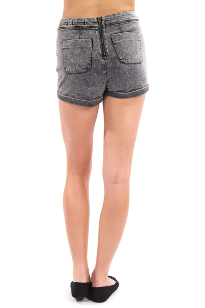 High Waist Back Zipper Short - Black Acid Wash by Eunina Jeans