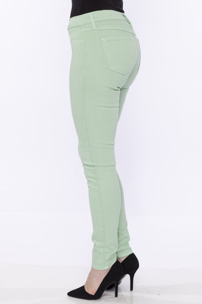 Low-Mid Rise Clean Super Soft Stretch Skinny Jean Jegging by Flying Monkey, Leaf Green