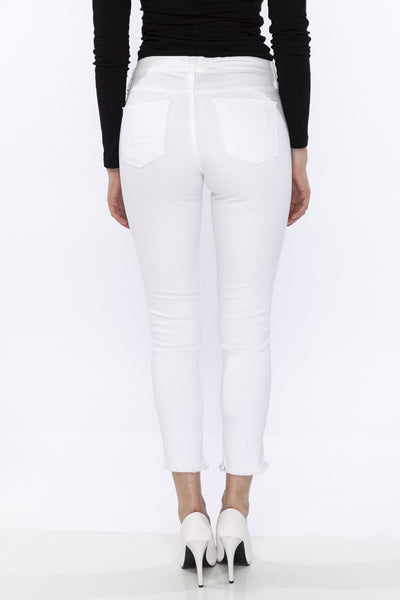 Low Rise Ripped Super Soft White Stretch Skinny Jeans with Frayed Hem by Flying Monkey