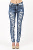 High Waist Extreme Distressed Dark Acid Wash Skinny Jean by Machine Jeans