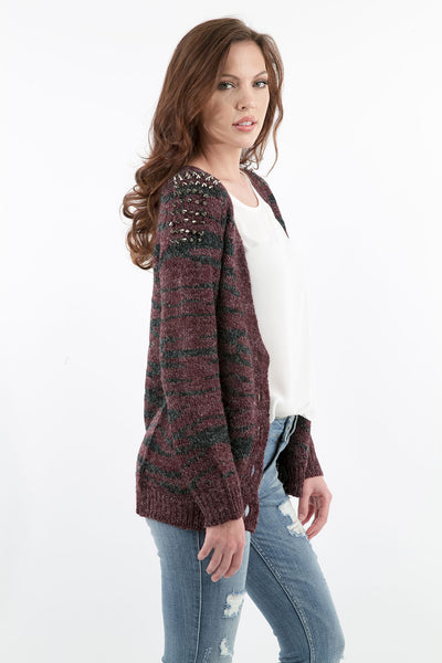 Fine As Wine Studded Shoulder Oversized Cardigan by Prima Collection