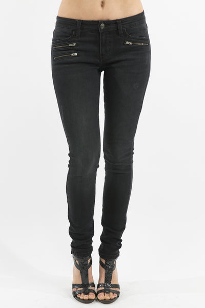 Eunina Women's Mid Rise Moto Zipper Stretch Skinny Jeans, Black Wash