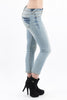 Eunina Womens Low Rise Pixie Capri Stretch Skinny Jean, Light Blue Wash