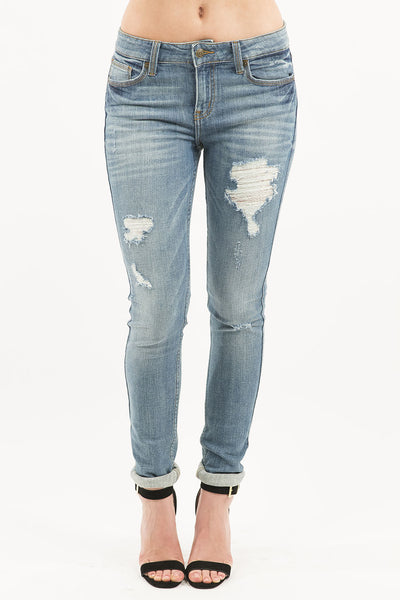 Plus Size Mid Rise Slightly Distressed Skinny Denim Jean - Light Wash by Eunina Jeans