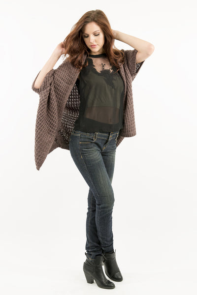 Chunky Knit Loose Fitting Sweater Cardigan - Mocha