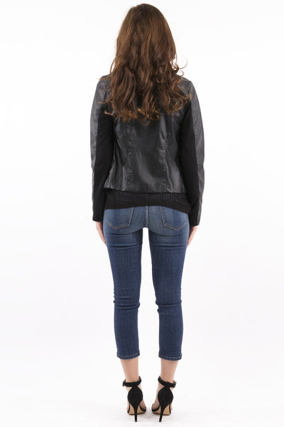 Lightweight Black Vegan Leather / Cotton Moto Jacket