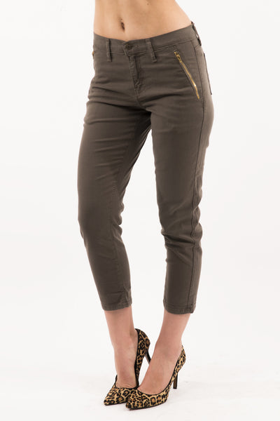 High Rise Tapered Trouser - Olive by Eunina Jeans