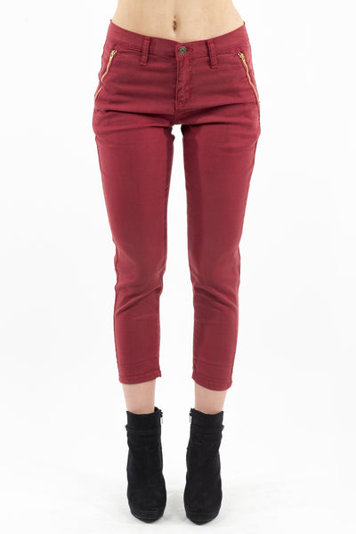 High Rise Tapered Trouser - Wine by Eunina Jeans