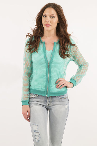 Sheer Thatch Jacket - Green