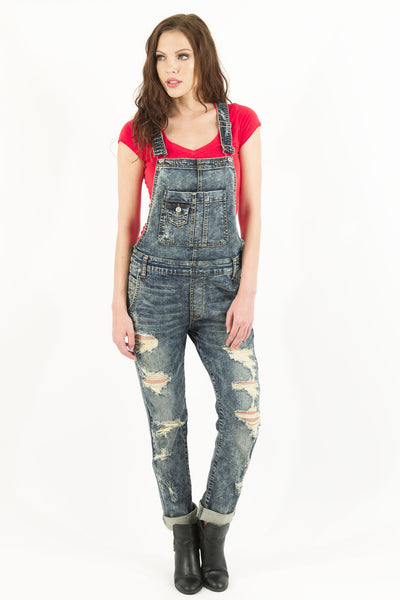 Edgy Distressed Overalls by Eunina Jeans