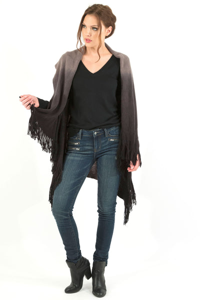 Sleeveless Shawl Vest With Fringe - Gray/Black