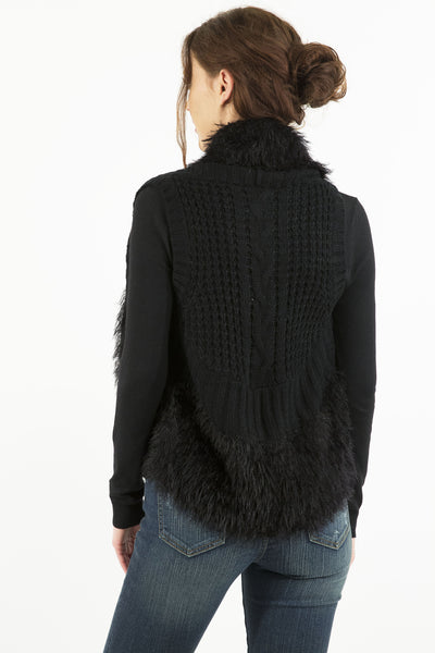 Faux Fur Collared Cable Knit Sweater Vest by Prima Collection