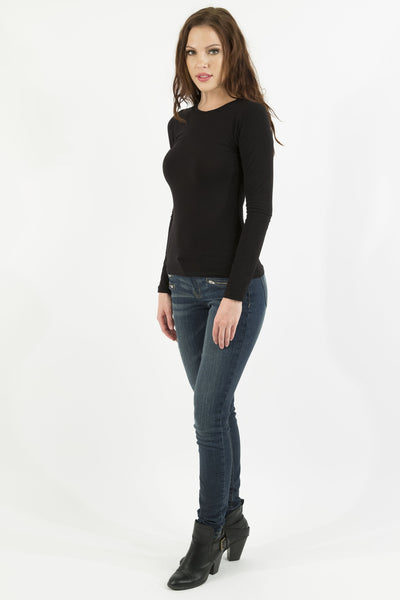 Basic Long Sleeve Crew Neck Cotton Top - Black