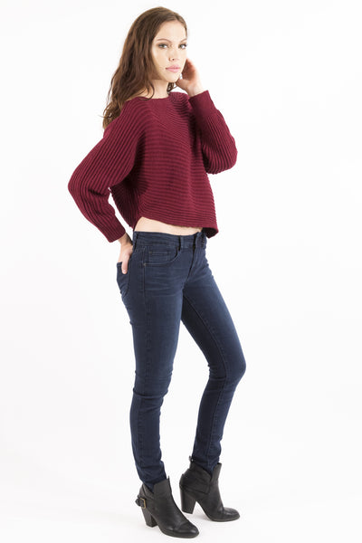 Asymmetrical Cropped Knit Sweater - Burgundy