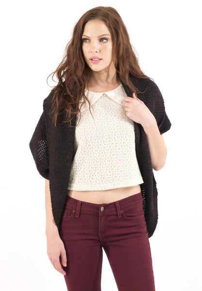 Asymmetrical Loose Fitting Knitted Cardigan - Charcoal