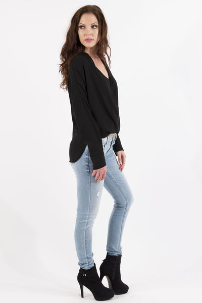 Long Sleeve Crossover Draped Chiffon Blouse - Black