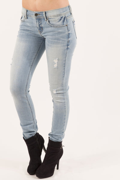 Eunina Women's Distressed Denim Stretch Skinny Jean, Low Rise, Light Blue