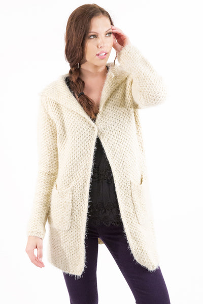 Over-sized Hooded Cardigan - Cream