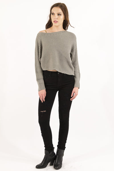 Asymmetrical Cropped Sweater - Stone