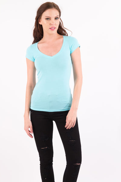 Basic Short Sleeve V-Neck Cotton Top - Light Blue