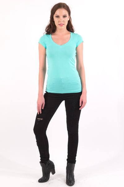 Basic Short Sleeve V-Neck Cotton Top - Winter Mint