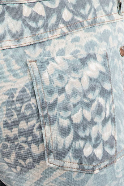 Mid Rise Skinny Jean - Quinn Mint Feather Pattern by Pistola Denim
