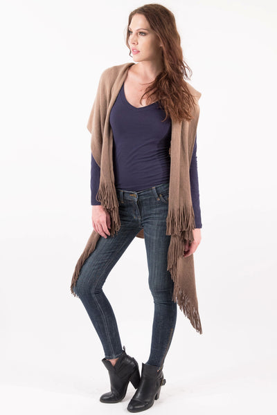 Sleeveless Shawl Vest With Fringe - Camel/Brown