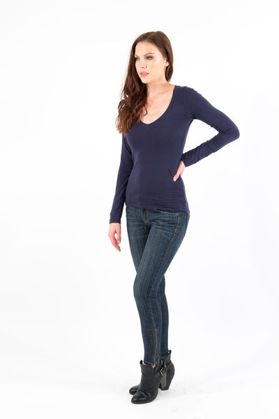 Basic Long Sleeve V-Neck Cotton Top - Navy