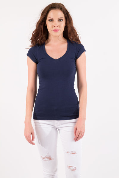 Basic Short Sleeve V-Neck Cotton Top - Navy