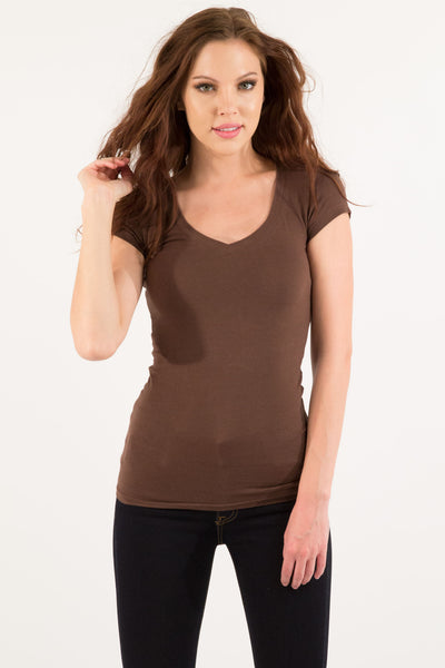 Basic Short Sleeve V-Neck Cotton Top - Brown