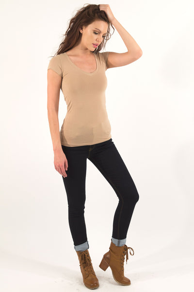 Basic Short Sleeve V-Neck Cotton Top - Camel