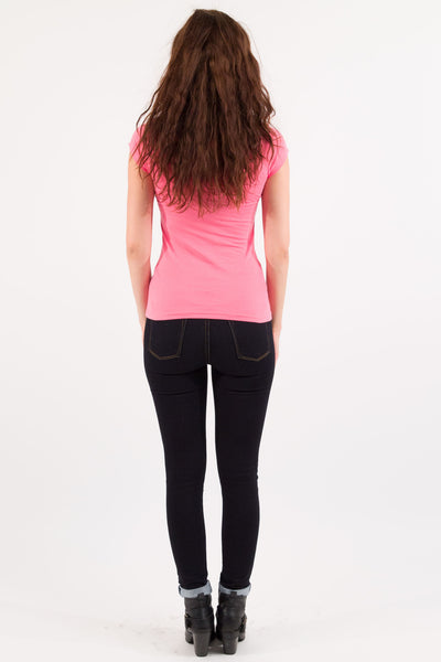 Basic Short Sleeve V-Neck Cotton Top - Bright PInk