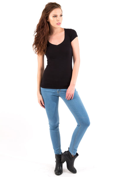 Basic Short Sleeve V-Neck Cotton Top - Black