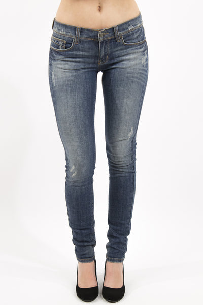 Low Rise Slightly Distressed Skinny Jean - Medium Wash by Eunina Jeans