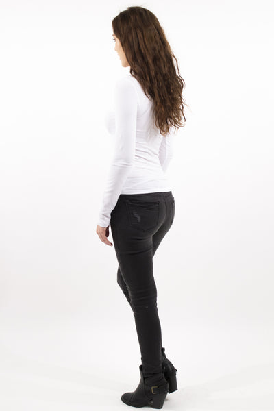 Mid Rise Skinny Jean Distressed Detail - Shadow Black by Eunina Jeans